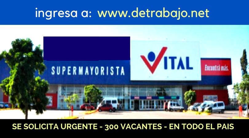 Trabajo Disponible Supermercados Vital, diferentes áreas, Excelente Salario, ambos sexos,con o sin experiencia